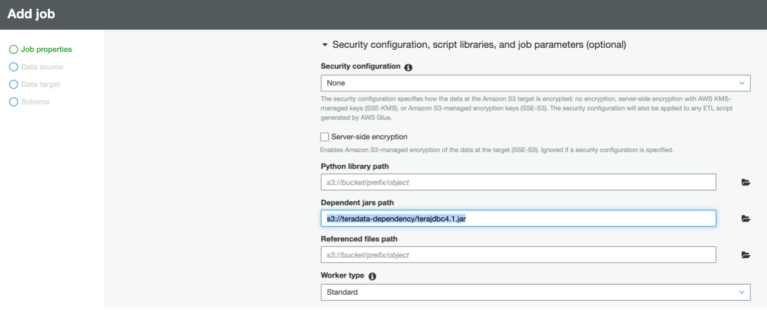 Add dependent jars path field in AWS